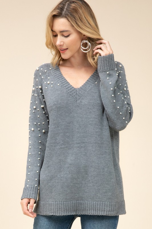 Charcoal Pearl Detail Sweater