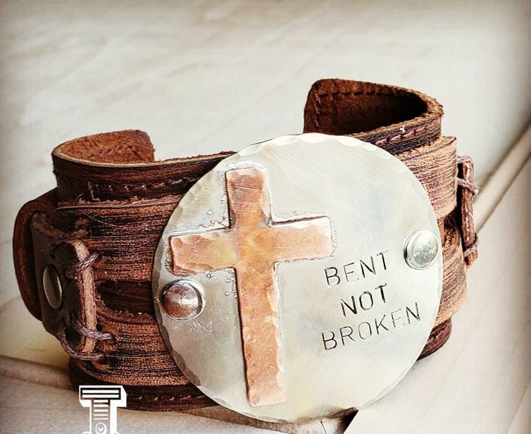 Bent Not Broken Distressed Leather Cuff