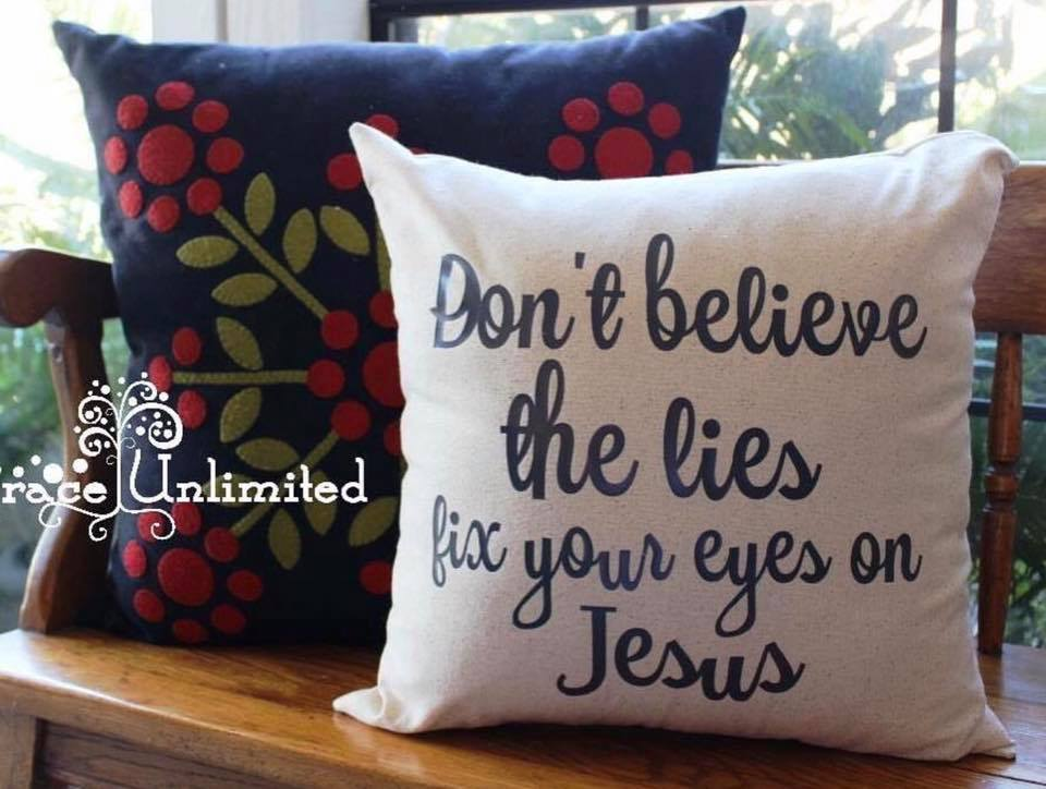 """Fix Your Eyes On Jesus"" pillow"